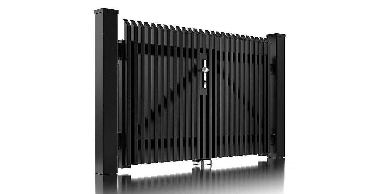 Freigestelltes Bild des Zweiflügeltors Lichtenberg von Super-Zaun aus Aluminium in schwarz