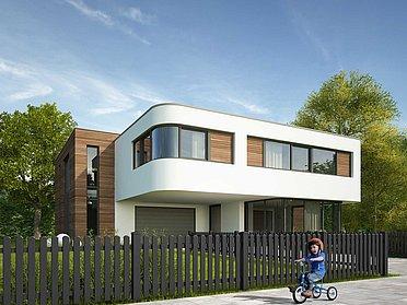 Klassischer Lattenzaun aus Aluminium in anthrazit vor einem modernen Einfamilienhaus. Davor spielt ein Kind auf einem Dreirad