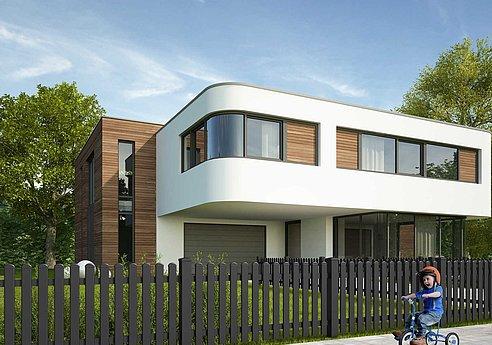 Lattenzaun in anthrazit vor modernem Kubushaus mit Holz