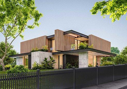 Außergewöhnlicher Lattenzaun aus Aluminium mit Schrägkappen vor einem ungewöhnlich gebauten Einfamilienhaus aus Holz