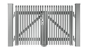 Freigestelltes Bild des Flügeltors Lichtenberg aus Aluminium mit Schrägkappen in silber