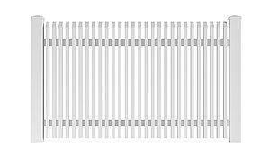 Freigestelltes Bild des Gartenzauns Lichtenberg aus Aluminium von Super-Zaun in weiß