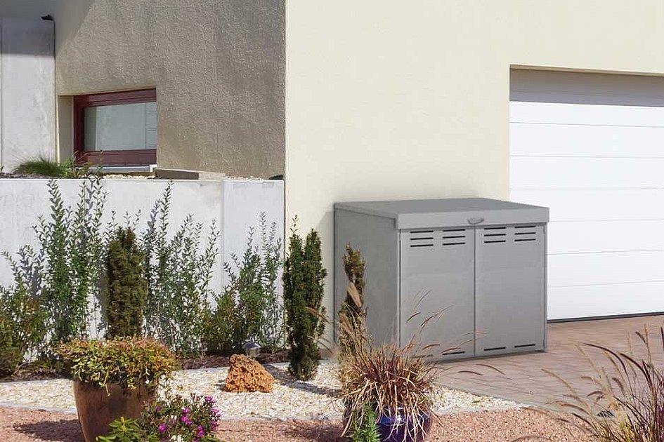 Mülltonnenbox aus Aluminium in grau für zwei Mülltonnen von Super-Zaun
