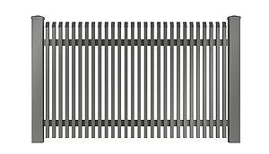 Freigestelltes Bild des Gartenzauns Lichtenberg aus Aluminium von Super-Zaun in grau