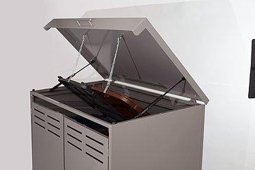 geöffnete Ansicht der Mülltonnenbox von Super-Zaun