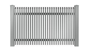 Freigestelltes Bild des Gartenzauns Lichtenberg aus Aluminium von Super-Zaun in silber