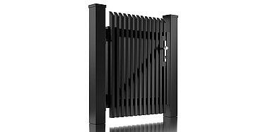 Freigestelltes Bild der Pforte Lichtenberg aus Aluminium von Super-Zaun mit Latten und Schrägkappen