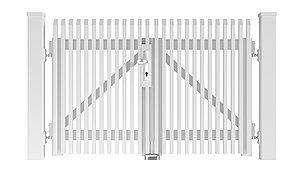 Freigestelltes Bild des Flügeltors Lichtenberg aus Aluminium mit Schrägkappen in weiß