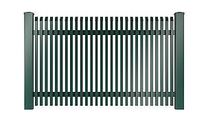 Freigestelltes Bild des Gartenzauns Lichtenberg aus Aluminium von Super-Zaun in grün