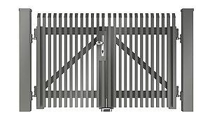 Freigestelltes Bild des Flügeltors Lichtenberg aus Aluminium mit Schrägkappen in grau